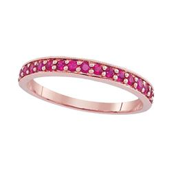 0.50 CTW Pave-set Ruby Single Row Ring 14KT Rose Gold - REF-20F9N