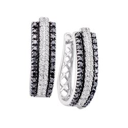 1 CTW Black Color Diamond Triple Row Vertical Hoop Earrings 14KT White Gold - REF-75K2W