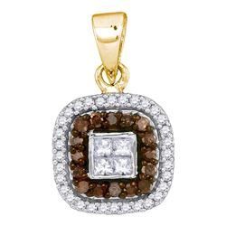 0.35 CTW Cognac-brown Color Diamond Square Pendant 10KT Yellow Gold - REF-22X4Y
