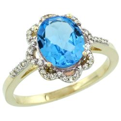 Natural 1.85 ctw Swiss-blue-topaz & Diamond Engagement Ring 14K Yellow Gold - REF-38Y6X