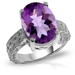 Genuine 7.5 ctw Amethyst Ring Jewelry 14KT White Gold - REF-125K9V