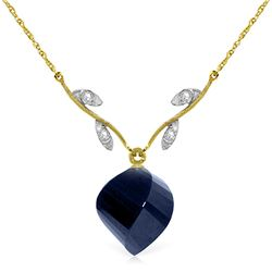 Genuine 15.27 ctw Sapphire & Diamond Necklace Jewelry 14KT Yellow Gold - REF-46A7K