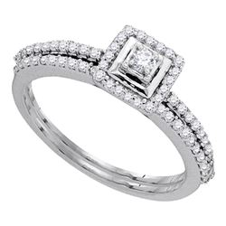 0.33 CTW Diamond Bridal Wedding Engagement Ring 10KT White Gold - REF-34H4M
