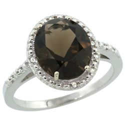 Natural 2.42 ctw Smoky-topaz & Diamond Engagement Ring 14K White Gold - REF-34N7G