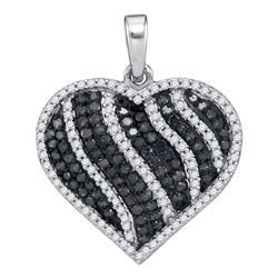 1.5 CTW Black Color Diamond Heart Love Pendant 10KT White Gold - REF-59K9W