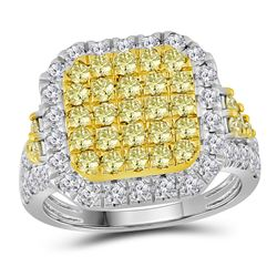 2.34 CTW Natural Canary Yellow Diamond Square Cluster Ring 14KT White Gold - REF-179Y9X