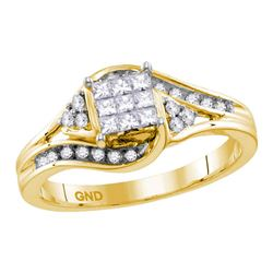 0.34 CTW Princess Diamond Cluster Bridal Engagement Ring 14KT Yellow Gold - REF-52F4N