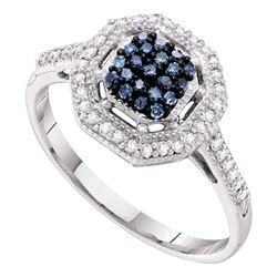 0.25 CTW Blue Color Diamond Octagon Cluster Ring 10KT White Gold - REF-25Y4X