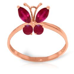 Genuine 0.60 ctw Ruby Ring Jewelry 14KT Rose Gold - REF-30H5X