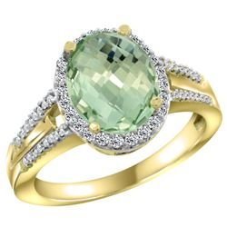 Natural 2.72 ctw green-amethyst & Diamond Engagement Ring 10K Yellow Gold - REF-45A3V