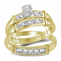 0.10 CTW His & Hers Diamond Solitaire Matching Bridal Ring 14KT Yellow Gold - REF-44F9N
