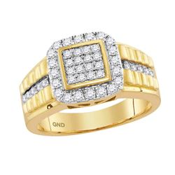 1 CTW Mens Diamond Square Cluster Ring 10KT Yellow Gold - REF-82Y4X