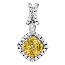 0.98 CTW Yellow Diamond Diagonal Square Cluster Pendant 14KT White Gold - REF-104F9N
