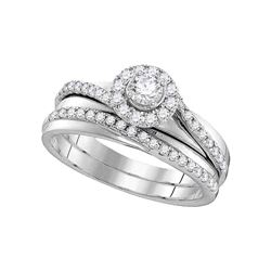 1.5 CTW Diamond Halo Bridal Engagement Ring 10KT White Gold - REF-71K9W