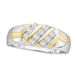 0.50 CTW Mens Diamond Wedding Ring 10KT Two-tone Gold - REF-37Y5X