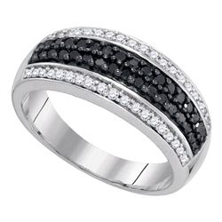 0.50 CTW Black Color Diamond Ring 10KT White Gold - REF-30Y2X