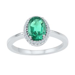 0.92 CTW Oval Created Emerald Solitaire Diamond Ring 10KT White Gold - REF-19X4Y