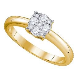 0.72 CTW Diamond Cluster Bridal Engagement Ring 18KT Yellow Gold - REF-149M9H