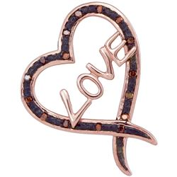 0.05 CTW Red Color Diamond Heart Love Pendant 10KT Rose Gold - REF-14X9Y