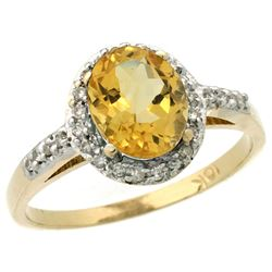 Natural 1.3 ctw Citrine & Diamond Engagement Ring 10K Yellow Gold - REF-25Z9Y