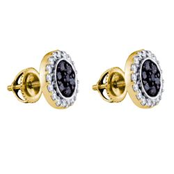1 CTW Black Color Diamond Circle Cluster Earrings 10KT Yellow Gold - REF-44M9H