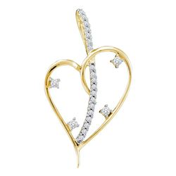 0.20 CTW Diamond Wire Heart Love Pendant 14KT Yellow Gold - REF-22X4Y