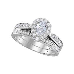 1 CTW Pear Diamond Bridal Wedding Engagement Ring 14KT White Gold - REF-209F9N