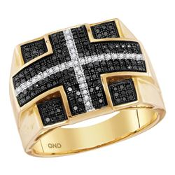 0.60 CTW Mens Black Color Diamond Cross Square Cluster Ring 10KT Yellow Gold - REF-56F2N