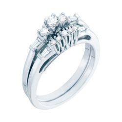 0.38 CTW Diamond 3-stone Bridal Engagement Ring 10KT White Gold - REF-41M9H