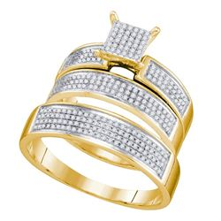 0.53 CTW His & Hers Diamond Cluster Matching Bridal Ring 10KT Yellow Gold - REF-52K4W