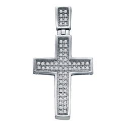 0.16 CTW Mens Diamond Small Cross Charm Pendant 10KT White Gold - REF-14N9F