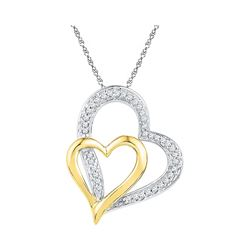 0.12 CTW Diamond Double Heart Pendant 10KT Two-tone Gold - REF-14H9M
