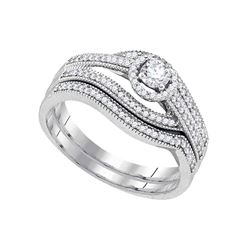 0.38 CTW Diamond Bridal Wedding Engagement Ring 10KT White Gold - REF-57N2F