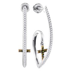 0.25 CTW Green Color Diamond J Hoop Cross Dangle Earrings 10KT White Gold - REF-36K2W