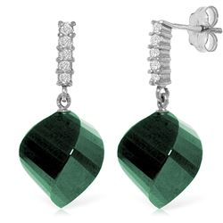 Genuine 30.65 ctw Green Sapphire Corundum & Diamond Earrings Jewelry 14KT White Gold - REF-59W9Y