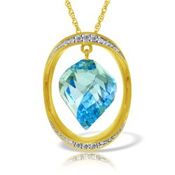 Genuine 14 ctw Blue Topaz & Diamond Necklace Jewelry 14KT Yellow Gold - REF-127F3Z
