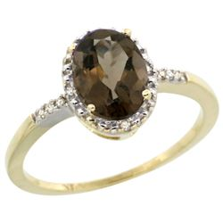 Natural 1.2 ctw Smoky-topaz & Diamond Engagement Ring 10K Yellow Gold - REF-16A9V