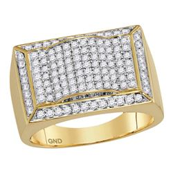 1.3 CTW Mens Diamond Rectangle Domed Cluster Ring 10KT Yellow Gold - REF-127X4Y