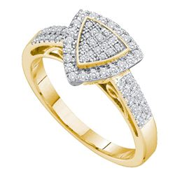 0.33 CTW Diamond Triangle Cluster Ring 10KT Yellow Gold - REF-30Y2X