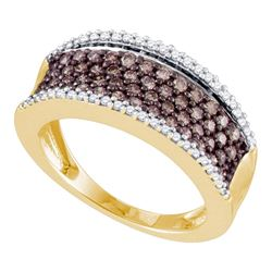 0.80 CTW Cognac-brown Color Diamond Ring 10KT Yellow Gold - REF-57F2N