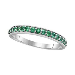 0.50 CTW Pave-set Emerald Single Row Ring 14KT White Gold - REF-24H2M
