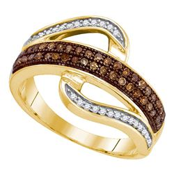 0.33 CTW Brown Color Diamond Curved Ring 10KT Yellow Gold - REF-22Y4X