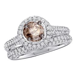 1.23 CTW Brown Color Diamond Bridal Wedding Engagement Ring 14KT White Gold - REF-89Y9X