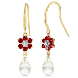 Genuine 5.51 ctw Rubies, White Topaz & Diamond Earrings Jewelry 14KT Yellow Gold - REF-49R8P