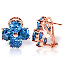 Genuine 7.6 ctw Blue Topaz Earrings Jewelry 14KT Rose Gold - REF-80R6P