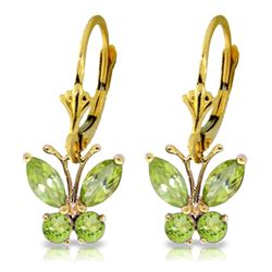 Genuine 1.24 ctw Peridot Earrings Jewelry 14KT Yellow Gold - REF-38T2A