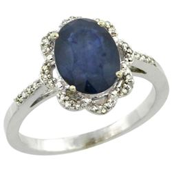 Natural 2.25 ctw Blue-sapphire & Diamond Engagement Ring 10K White Gold - REF-43W2K