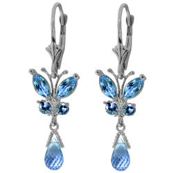 Genuine 2.74 ctw Blue Topaz Earrings Jewelry 14KT White Gold - REF-42Y6F