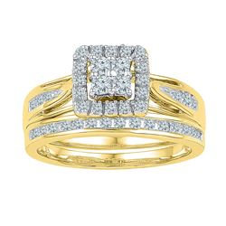 0.50 CTW Diamond Cluster Bridal Engagement Ring 10KT Yellow Gold - REF-57X2Y