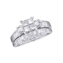 1 CTW Princess Diamond Bridal Engagement Ring 10KT White Gold - REF-75F2N